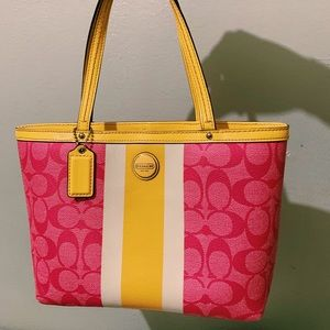 pink and yellow coach purse
